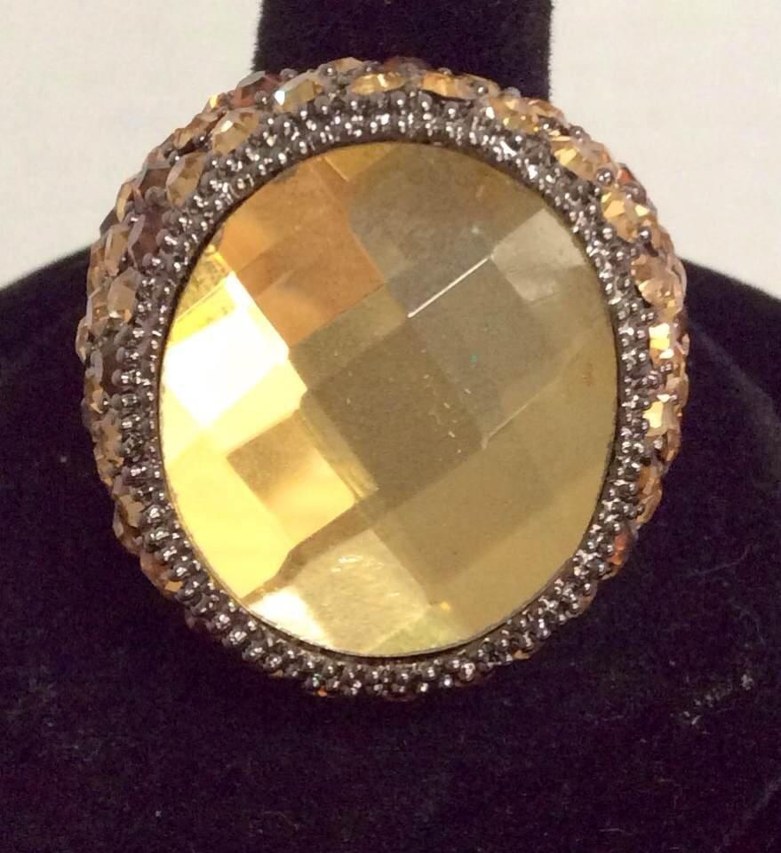Joan Rivers Yellow Crystal Custom Rings - Size 8