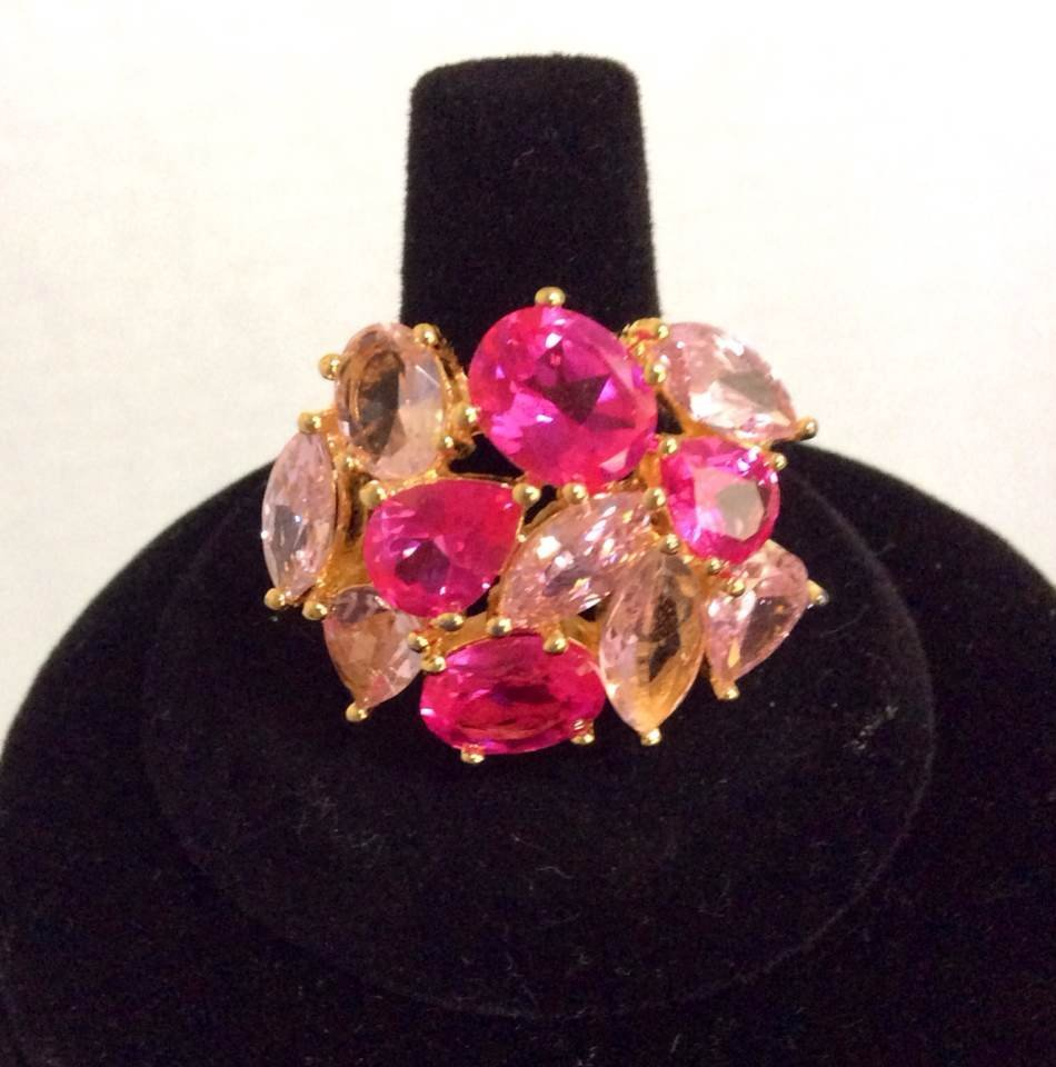 Joan Rivers Gold Tone Pink Crystal Ring - Size 10