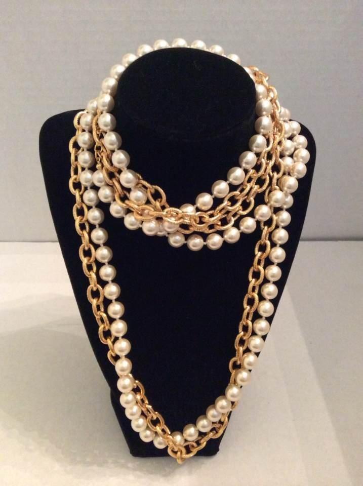"Joan Rivers 50"" Gold Tone and White Beads Custom"