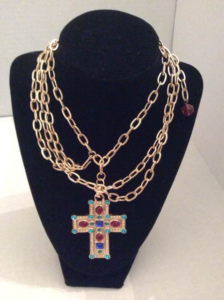 "22"" Gold Tone Custom Necklace with Cross Pendant"