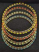 Graziano Gold Tone and Beads 4 Set Bracelets