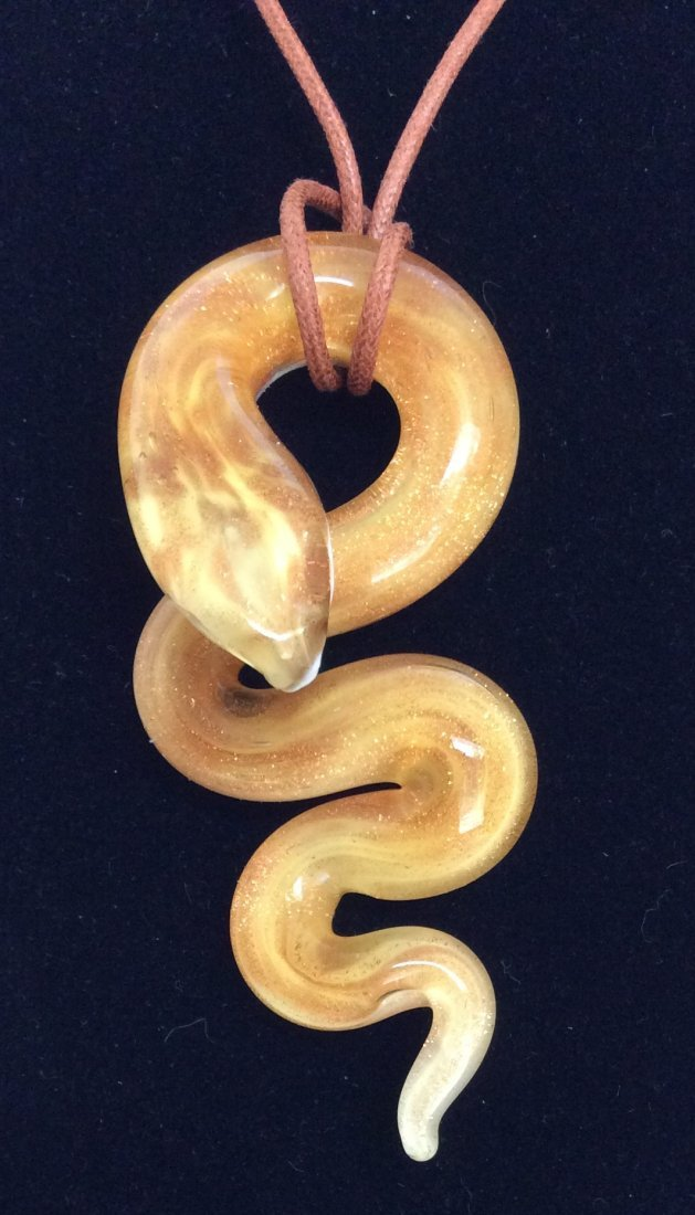"""18"""" Italy Murano Glass Snake Waxed Cord Necklace"""