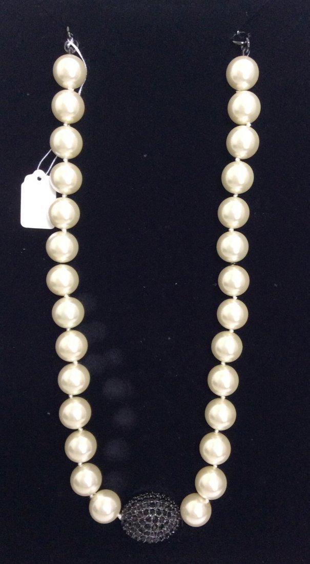 """22"""" Joan Boyce Black Pavé Egg Necklace"""