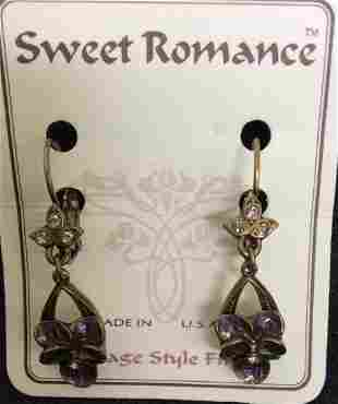 Sweet Romance Vintage Style Purple Flower Earrings