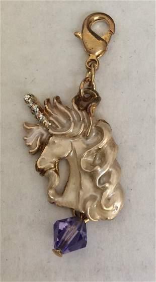 Kirks Folly Gold Tone and White Enamel Unicorn Charm