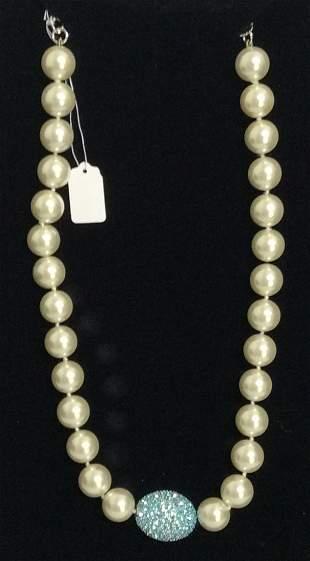 """22"""" Joan Boyce Blue Pavé Egg Necklace"""