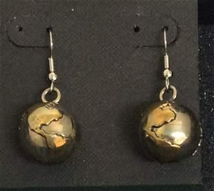 Silver & Gold Tone World Custom Earrings