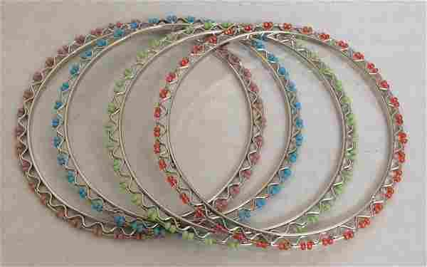 Graziano Silver Tone Multicolor Beads 4 Set Bracelet