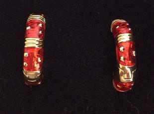 Gold Tone and Red Enamel Custom Earrings