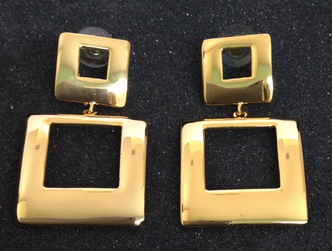 Joan Rivers Gold Tone Square Custom Earrings