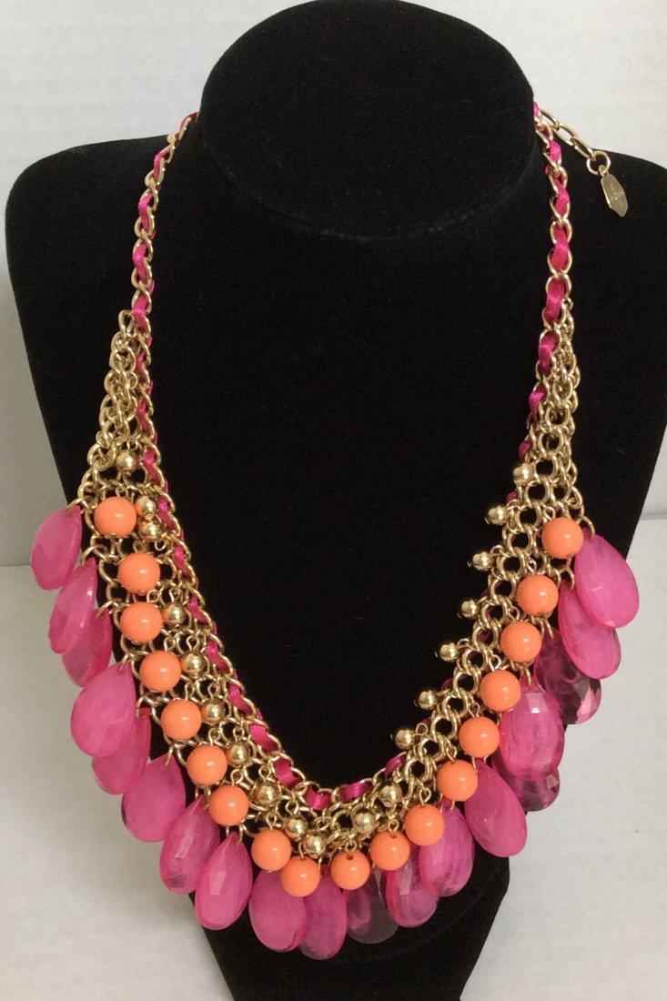 """21"""" Graziano Gold Tone Pink & Orange Beads Necklace"""