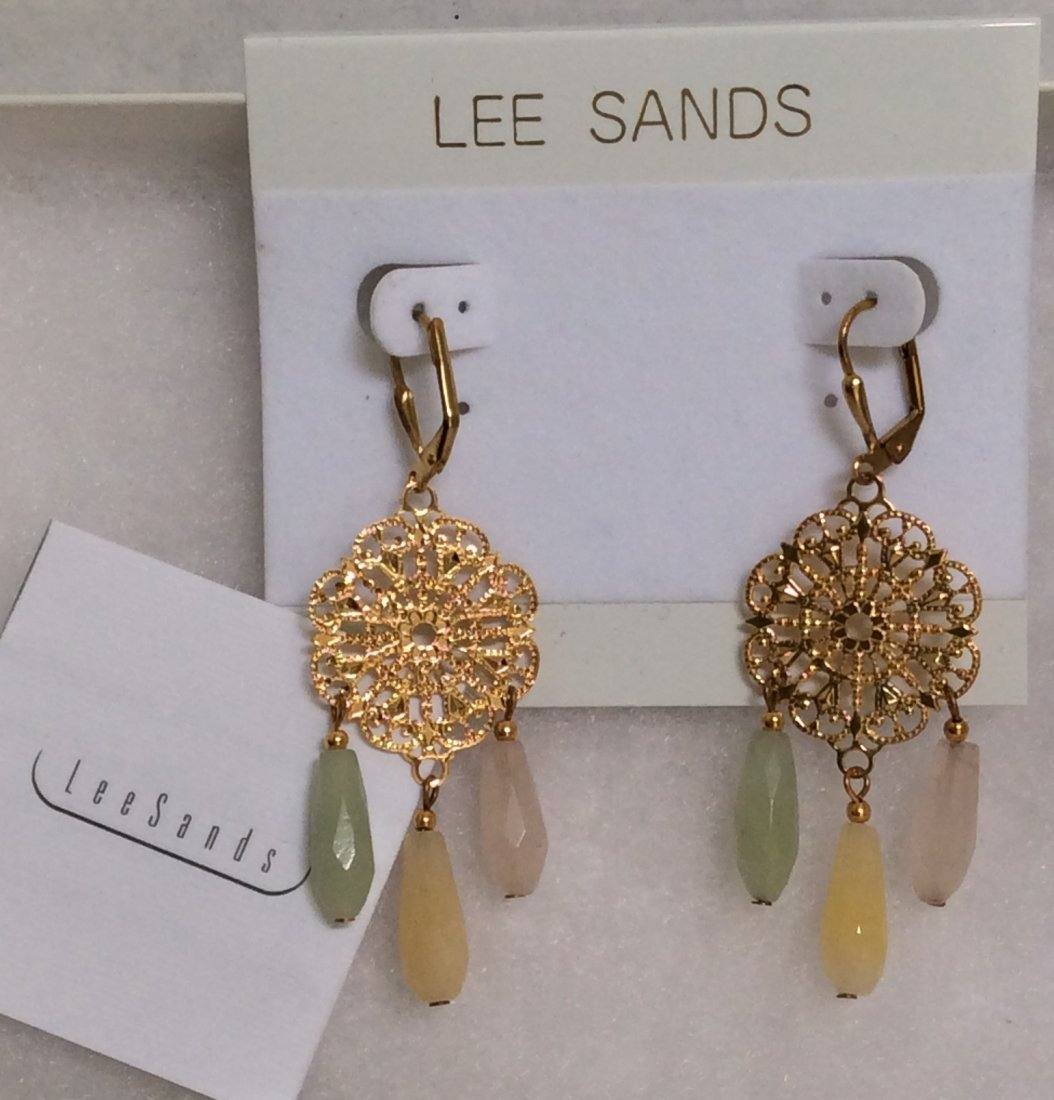 Lee Sands Gold Tone Multicolor Beads Earrings