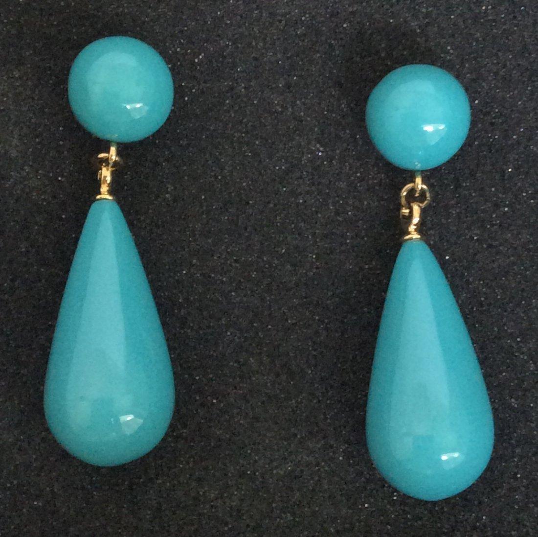 Kenneth Jay Lane Gold Tone Blue Bead Earrings