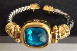 Gold Tone and Silver Tone with Blue Crystal Cuff