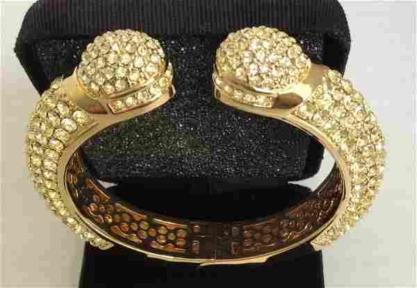 Joan Boyce Kissable Pavé Crystal Gold Tone Cuff