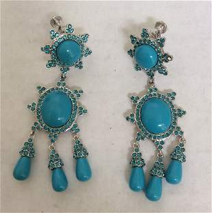 Joan Rivers Blue Beads Custom Earrings