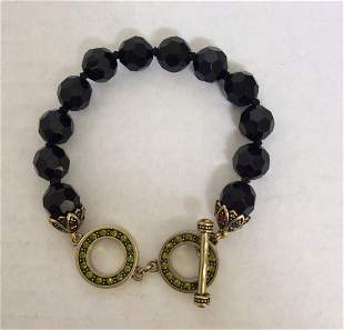 Heidi Daus Black Bead and Green Rhinestones Bracelet