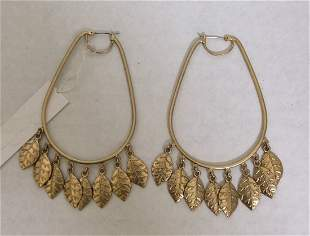 Jessica Simpson Gold Tone with Leaves Earrings