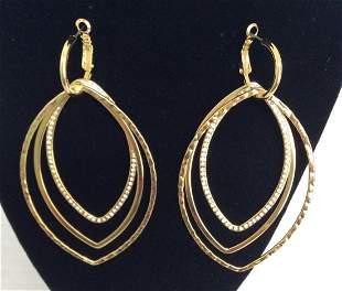 Iman Gold Tone 3 Loops Custom Earrings