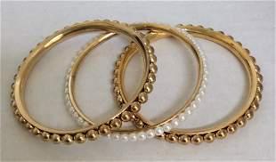 Gold Tone and White Beads Custom Bracelet