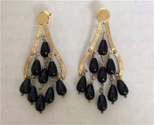Gold Tone and Black Beads Custom Earrings