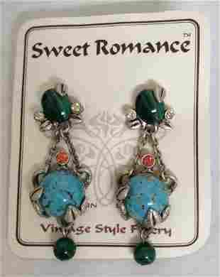 Sweet Romance Vintage Style Blue Green Gemstone