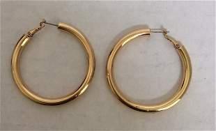 Gold Tone Round Custom Earrings