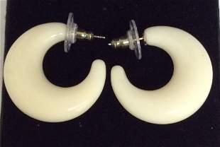 Joan Rivers White Semi-Circle Custom Earrings