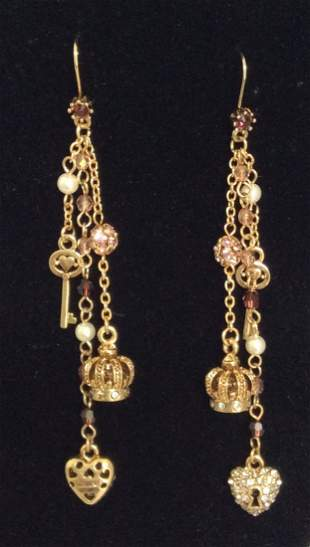 Graziano Gold Tone Crown and Hearts Earrings
