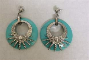 Silver Tone and Blue with Rhinestones Custom Earrings