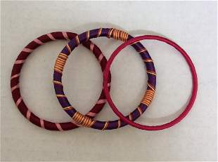3 Set Purple and Red Thread Bracelet Made in India