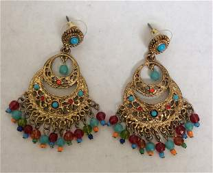Graziano Gold Tone with Multicolor Beads Earrings