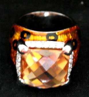 .925 Sterling Silver Tiger Style Orange Ring