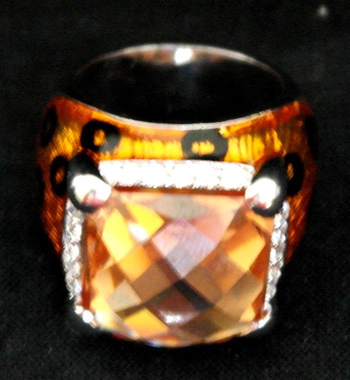 .925 Sterling Silver Tiger Style Orange Ring