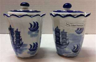 White and Blue Wax Filled Porcelain Jar - 2 Candle Set