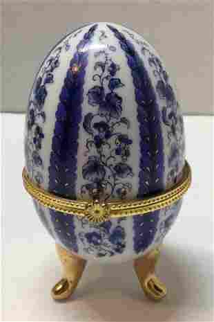 White and Blue Porcelain Jewelry Box Trinket Egg