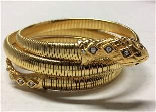 Graziano Gold Tone Snake Style Bracelet