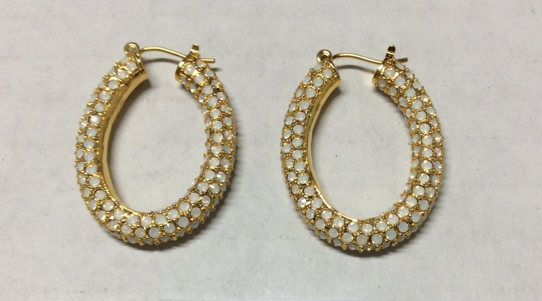 Joan Rivers Gold Tone and White Earrings
