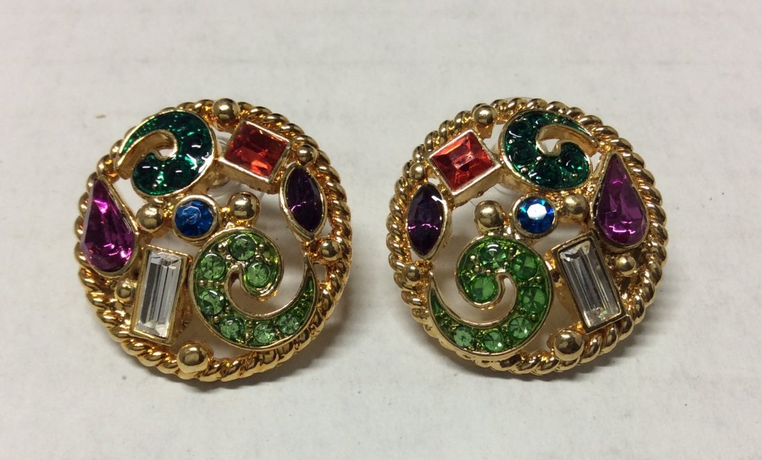 Haskell Gold Tone and Multicolor Rhinestones Earrings