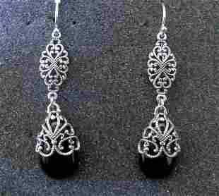 .925 Sterling Silver Ladies Black Onyx Earrings