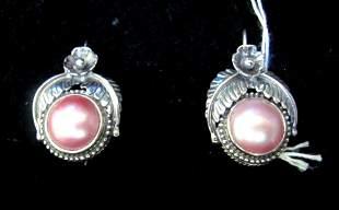 .925 Sterling Silver Ladies Pearl Earrings