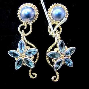 .925 Sterling Silver Ladies Gemstone Earrings