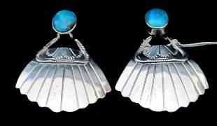 .925 Sterling Silver Ladies Turquoise Earrings