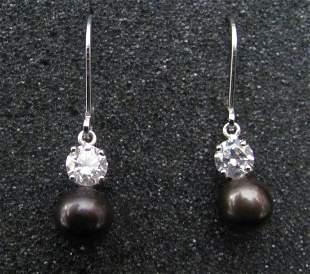 .925 Sterling Silver Ladies Black Pearl Earrings