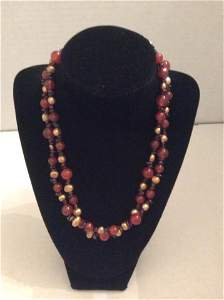 """20"""" 2 Strands Pearl and Gemstones Necklace"""