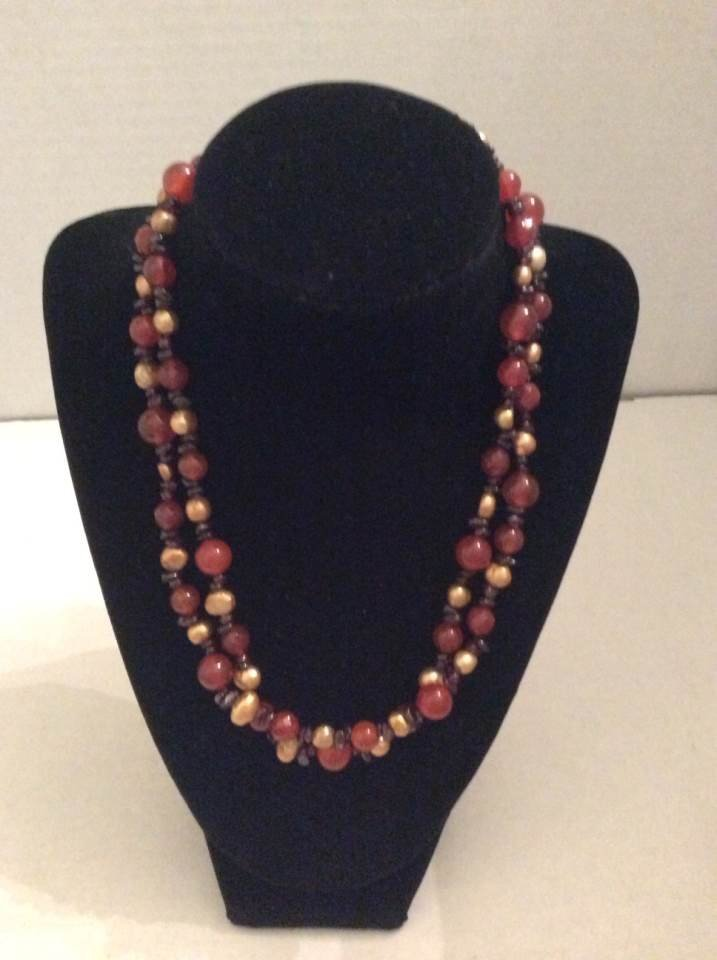 "20"" 2 Strands Pearl and Gemstones Necklace"