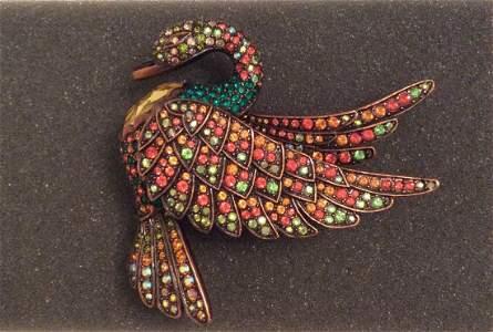 Joan Rivers Yellow Rhinestones Swan Pendant