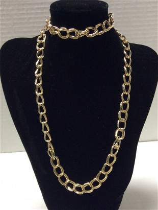 """33"""" Gold Tone Double Rings Necklace"""