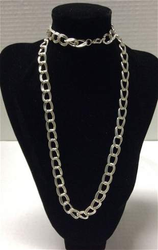 """33"""" Silver Tone Double Rings Necklace"""