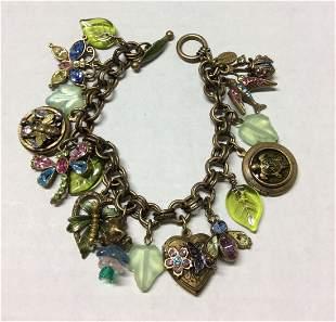 Sweet Romance Brass Tone Charms Bracelet